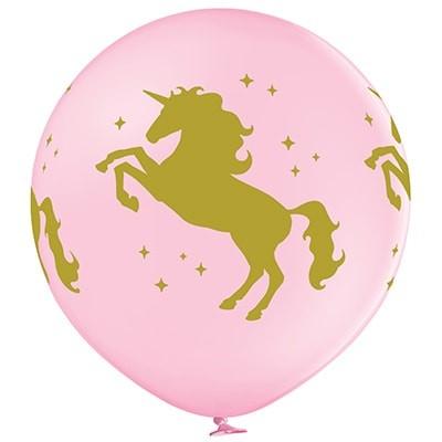 Большой шар Единорог розовый