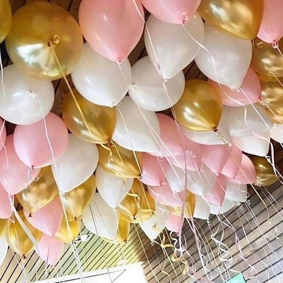 Шарики под потолок Белого, Розового и Золотого цветов