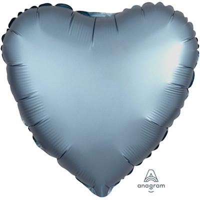 Шар Сердце  Сатин Steel Blue