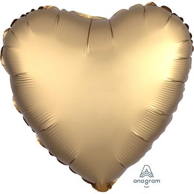 Шар Сердце Сатин Gold Sateen