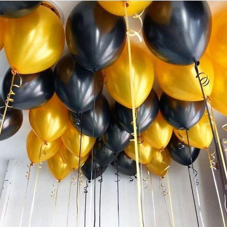Гелиевые шарики под потолок черные и золотые 50 шт.
