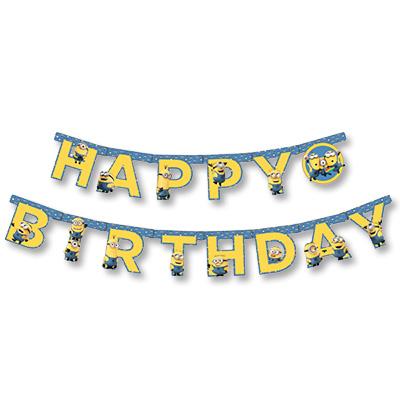 Гирлянда - буквы  С днем рождения, Миньоны, 230 см.