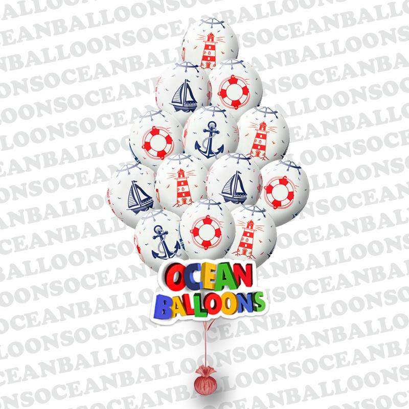 Облако из 25 шариков Праздник морской тематики