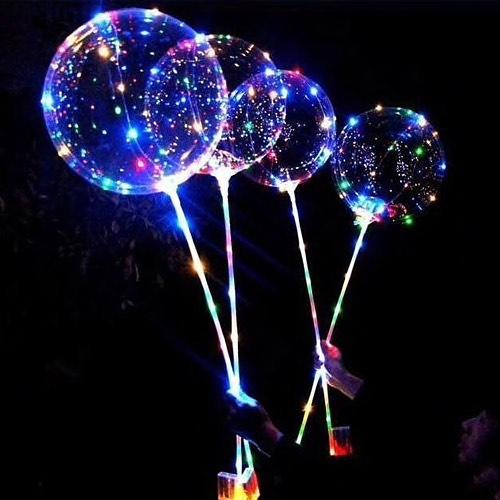 Светящиеся шарики на палочке - Прозрачные воздушные шары со светодиодами на палке