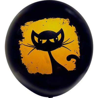 Шар большой  с рисунком Кошка черная