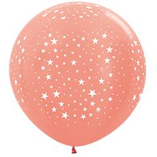 Большой Шары с звездами Розовое золото