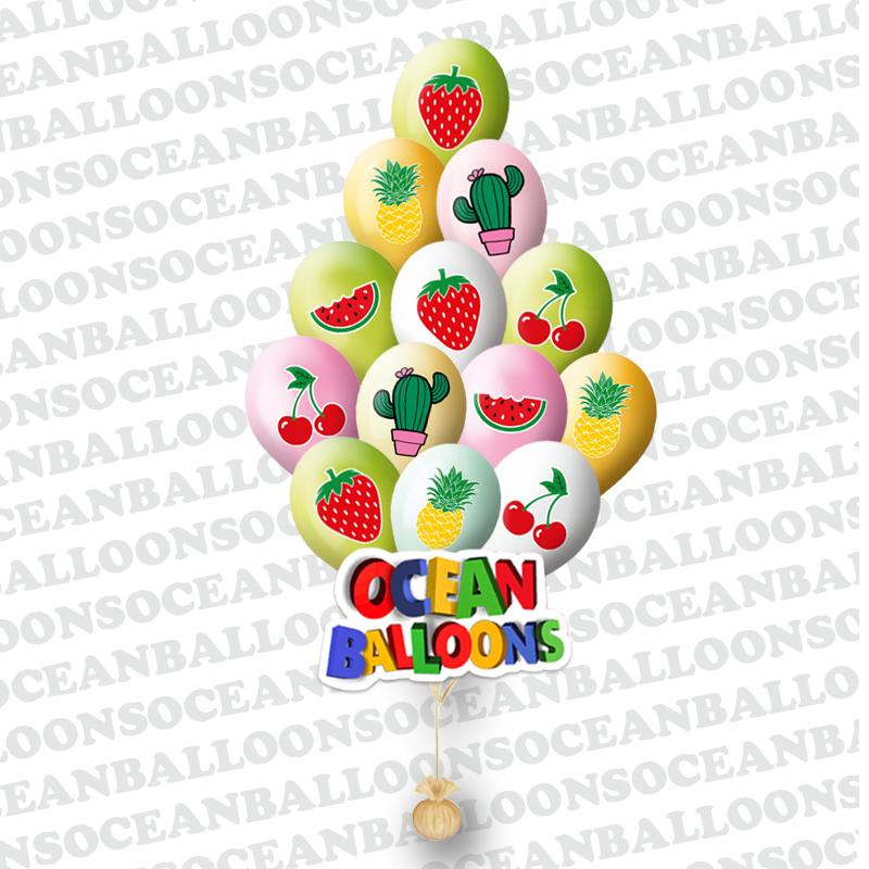 Облако из 25  гелиевых шаров фруктовый микс