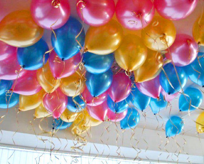 Гелиевые шарики под потолок синие золотые и фуше 60 шт.