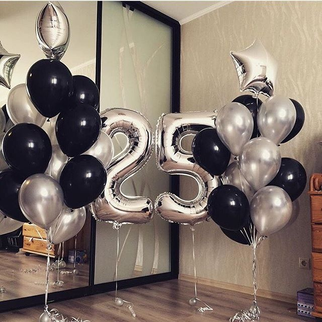 Готовое решение Шары в День Рождения Черный и Серебро