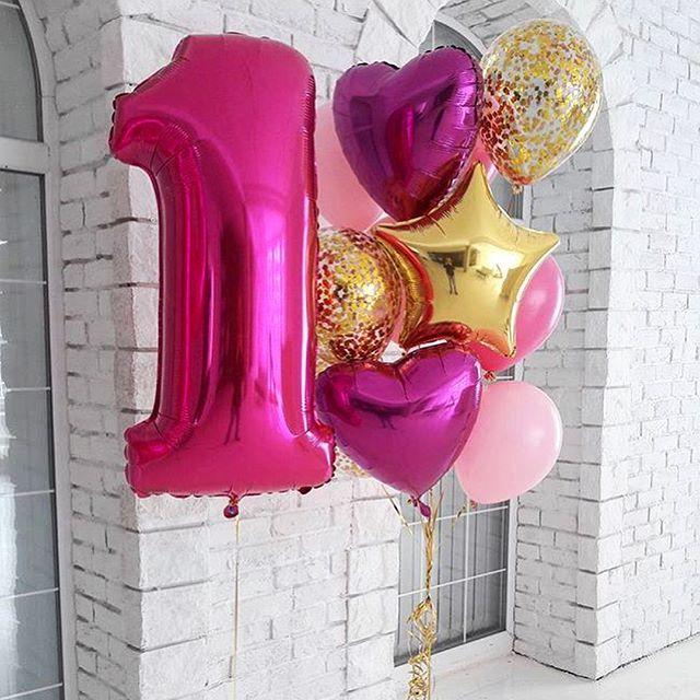Воздушные шарики на 1 годик девочке