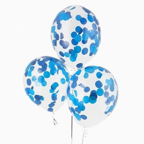 Гелиевые шарики с конфетти синие