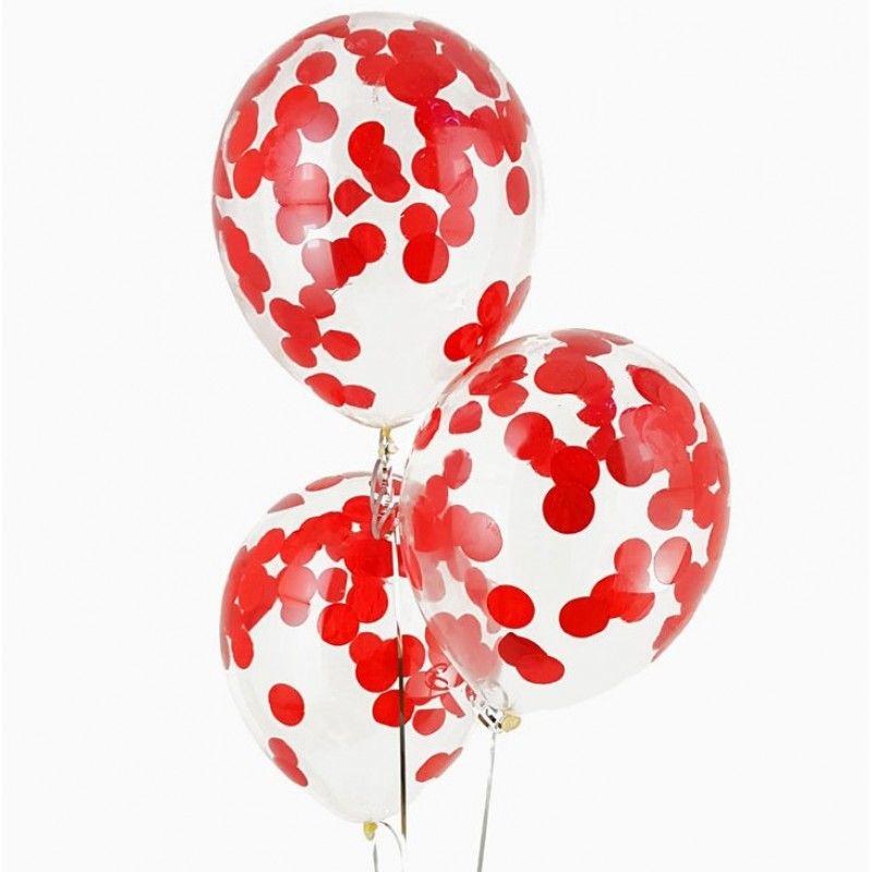 Гелиевые шары с конфетти красные