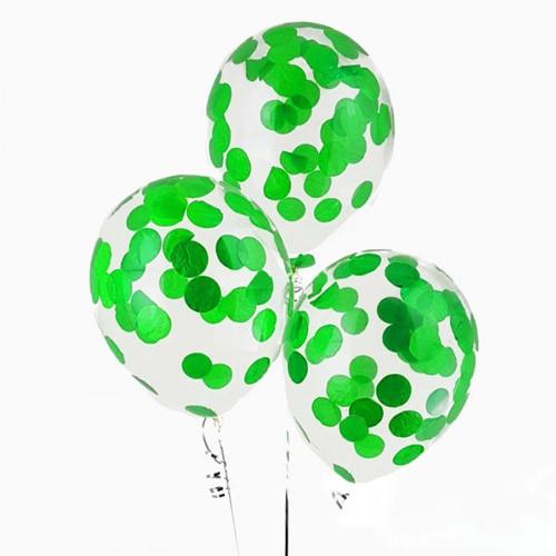 Гелиевые шары с конфетти зеленые