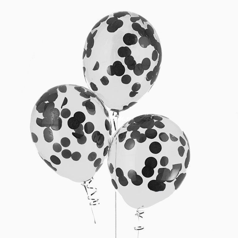 Гелиевые шары с конфетти черные