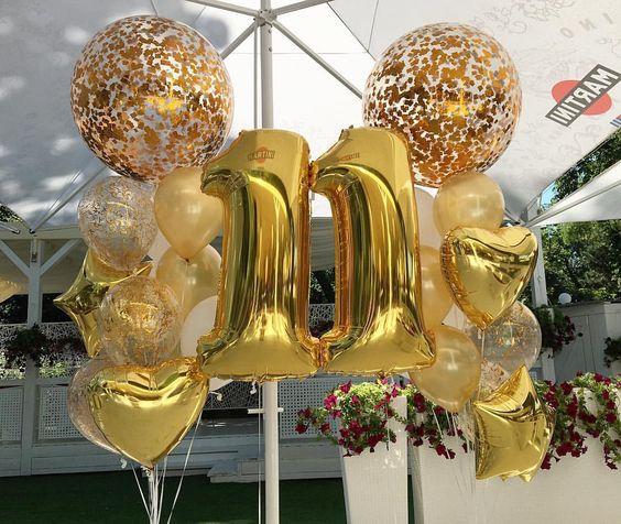 Готовая Композиция из воздушных шаров «Золотая дата»