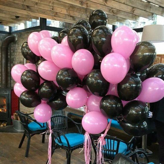 Облако из 100 Гелиевых шаров ярка розовая и черная
