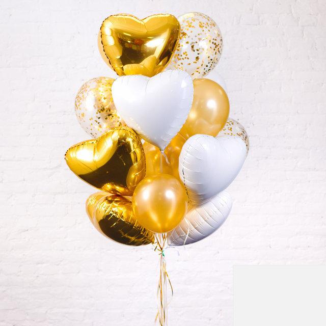 Подарок гелиевых шариков любимой в золотом цвете