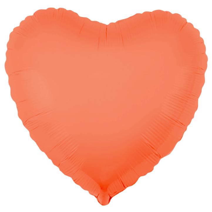 Шар Сердце, Персиковый, Флюор.