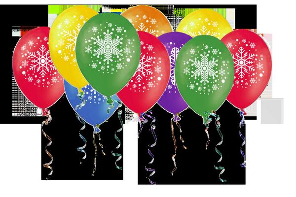 Воздушные шары на  Новый год «Разноцветные Снежинки»