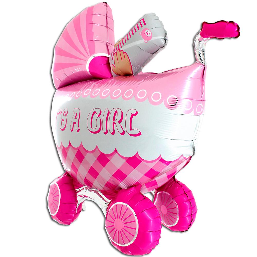 Фольгированный шар Фигура, Детская коляска для девочки 3D