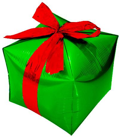 Шар Куб, Подарок с бантиком, Зеленый