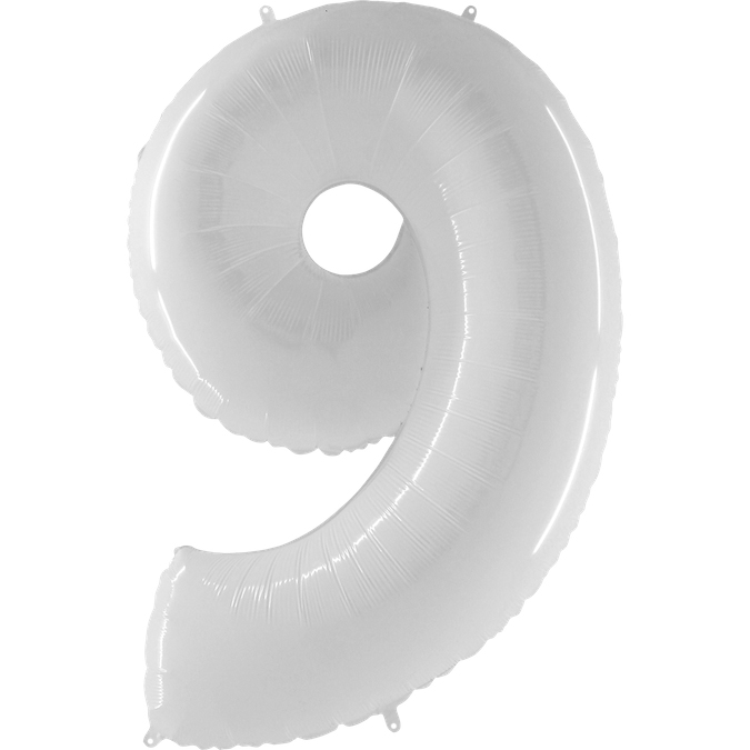 Цифра 9 белая