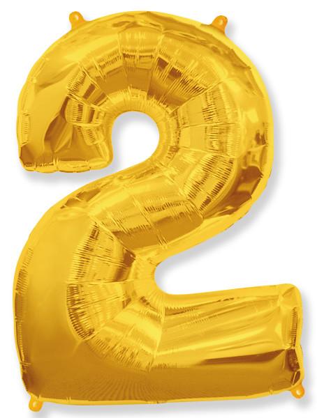 Фольгированный шар цифра 2 золотая