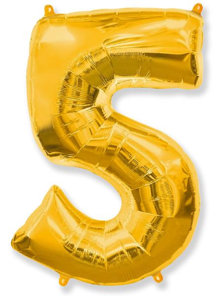 Цифра 5 золотая