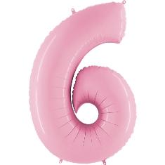 Цифра 6 розовая пастель