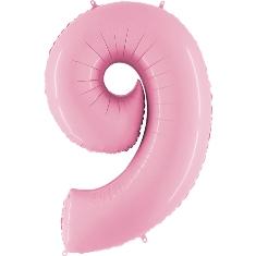 Цифра 9 розовая пастель