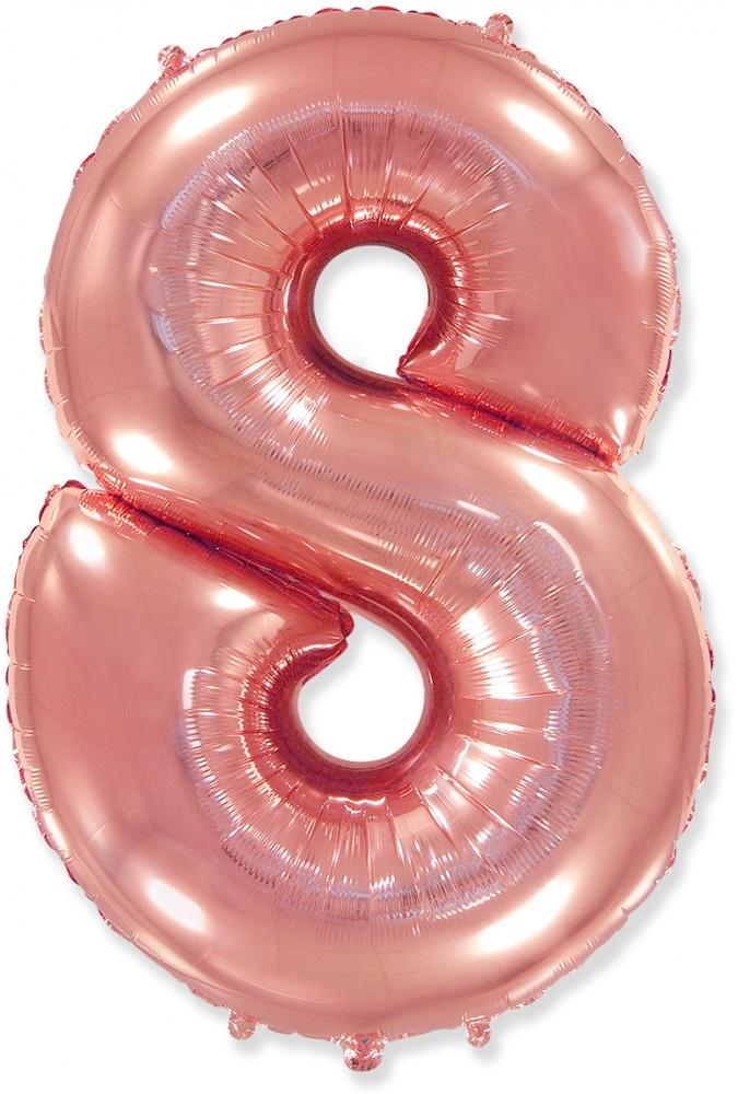 Цифра 8 розовое золото