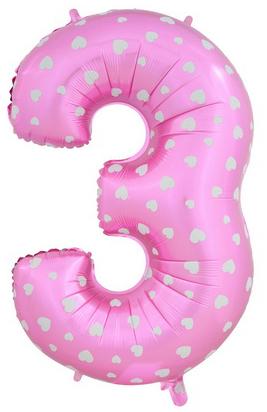 Цифра 3 розовая с сердечками