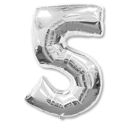 Цифра 5 серебрянная