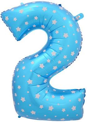 Цифра 2 синяя со звездами
