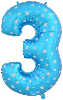 Цифра 3 синяя со звездами