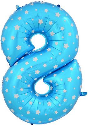 Цифра 8 синяя со звездами