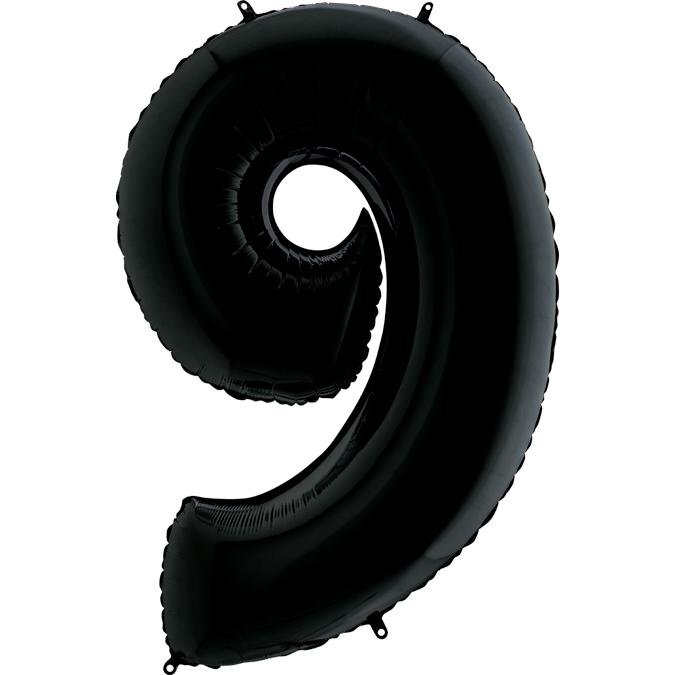 Цифра 9 черная