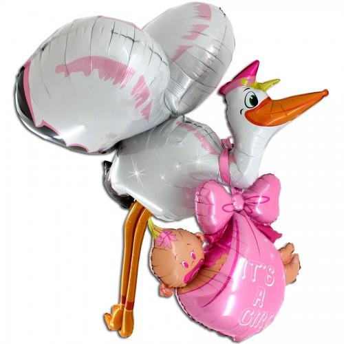 Ходячий фольгированный шар «Аист принес девочку»
