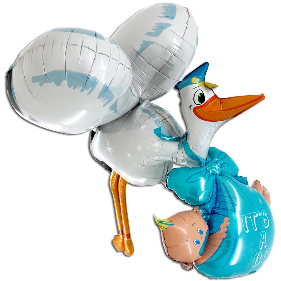 Ходячий фольгированный шар «Аист принес мальчика»