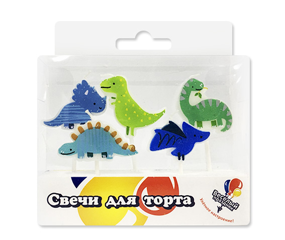 Свечи фигурные, Динозавры, 5 шт.