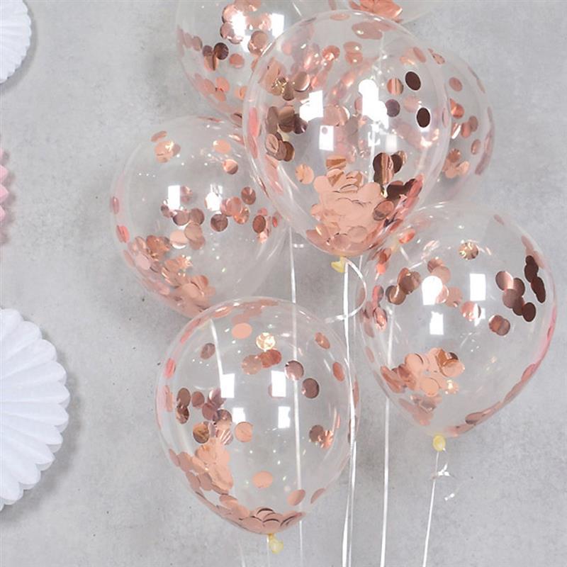 Гелиевые шарики с конфетти  розовое золото