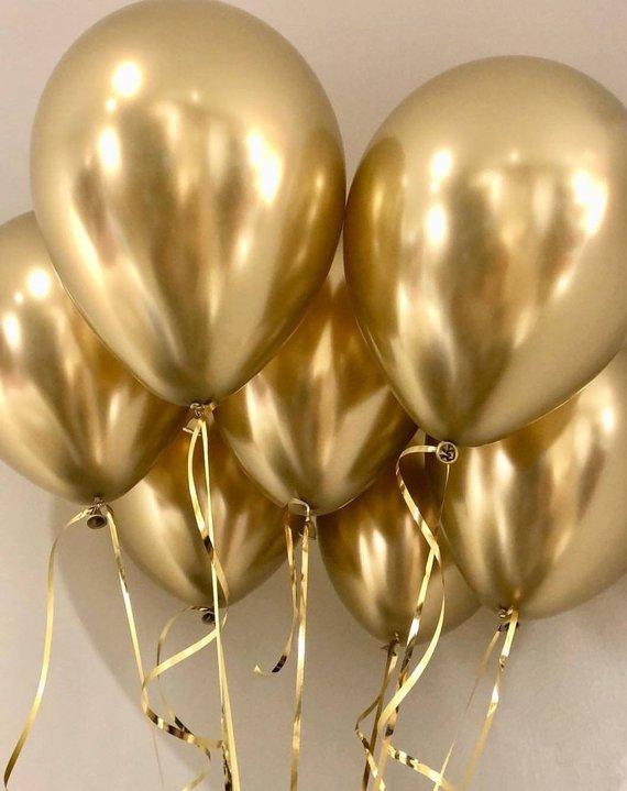 Гелиевые шарики под потолок золотой хром 25 шт.