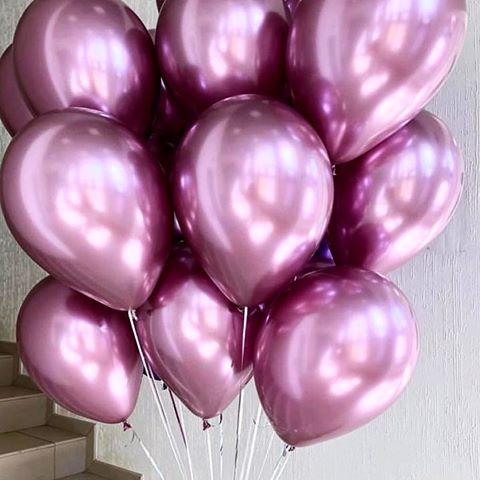 Гелиевые шары Розовый, хром