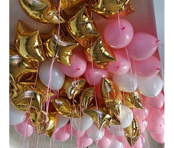 Шары под потолок «Звезды с розовым ароматом»