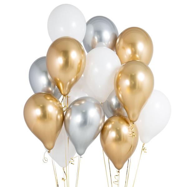 Букет «Золотое серебро» из 17 шариков