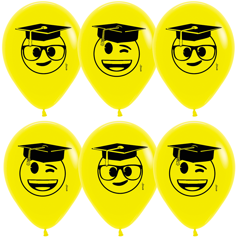 Гелиевые шары Выпускник, Emoji, Желтый