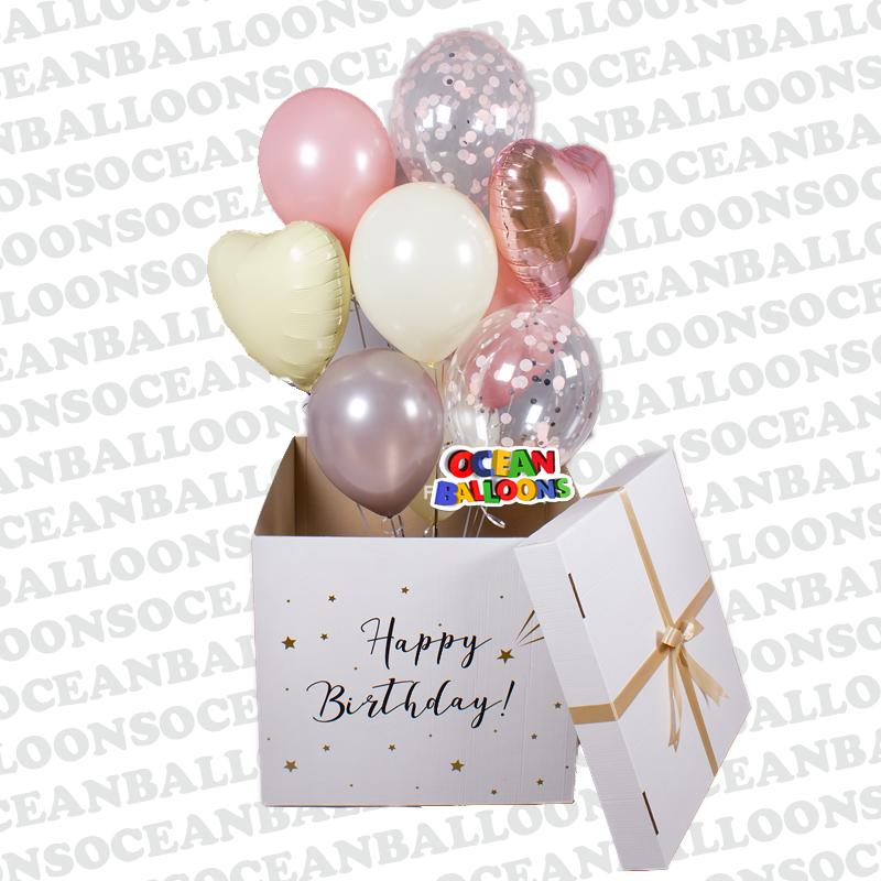 Коробка с шарами на День Рождения с конфетти