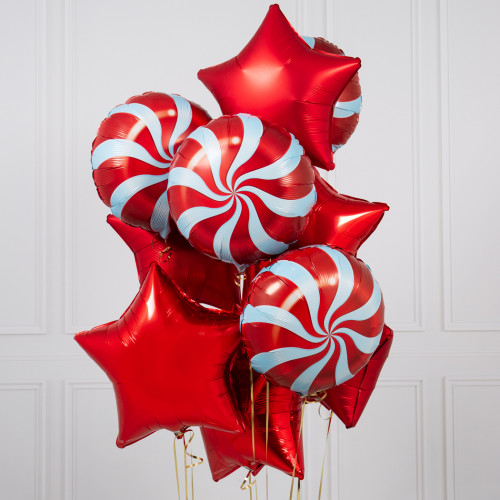Букет «Леденцы с клубникой» из воздушных шариков