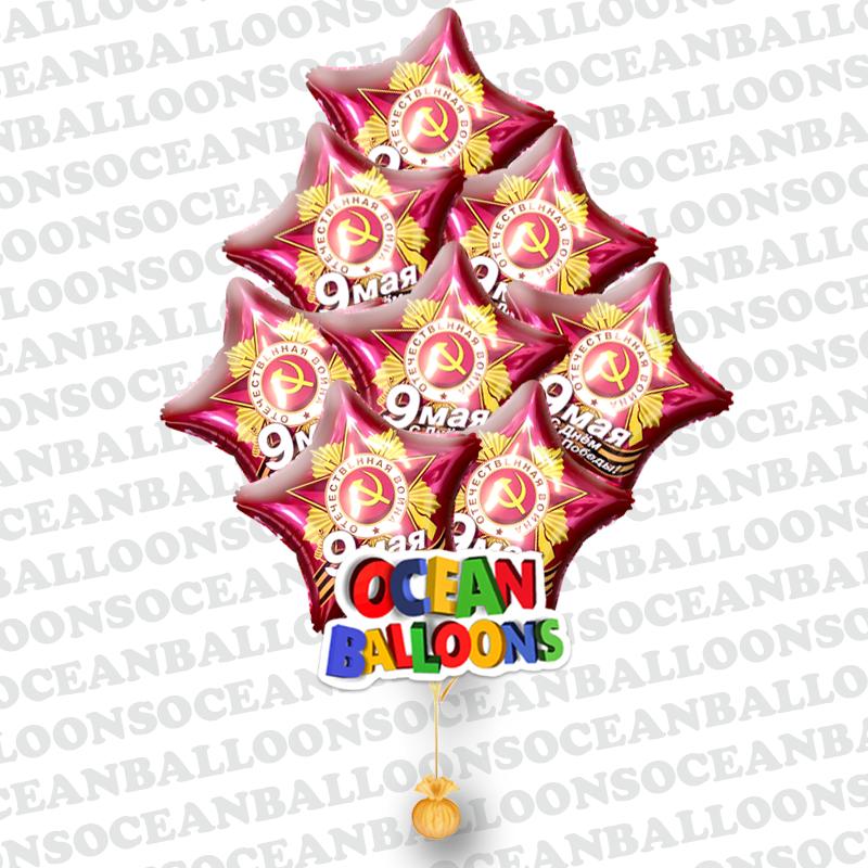 Композиция из фольгированных шаров на Ден Победы