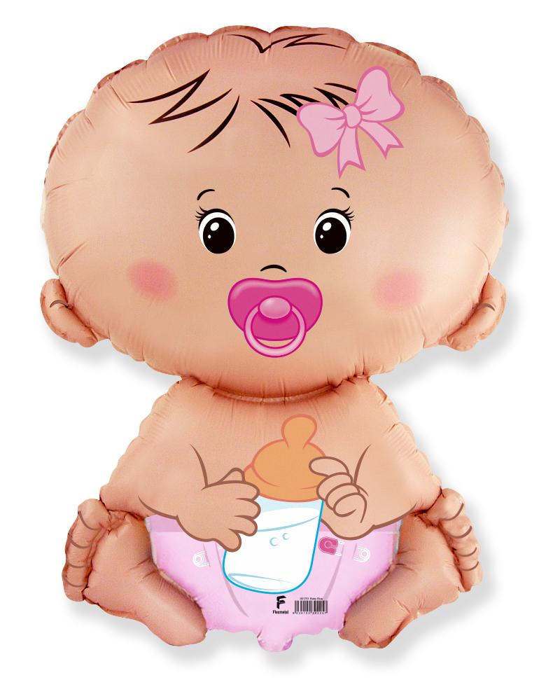 Фольгированный шар Фигура, Малышка девочка, Розовый.